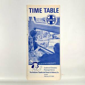 1968 Santa Fe Railway Time Table Passenger Schedule Vintage Travel Railroad