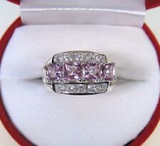 3.35 CTW PINK TOPAZ & WHITE SAPPHIRE RING sz 7.25 - WHITE GOLD over 925 SILVER