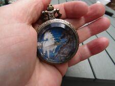 women horse art necklace pendant pocket watch bronze  tone vintage