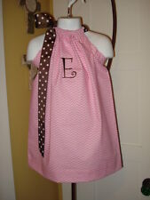 Monogram Pink Chevron Easter Pillowcase Dress  3 month -7 year