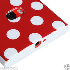 Nokia Lumia 920 CANDY SKIN TPU GEL COVER CASE ACCESSORY RED WHITE POLKA DOTS