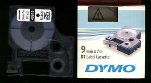 3x DYMO D1 label cassette 9mm Farbband 40913 BLACK / WHITE s0720680 für LABEL