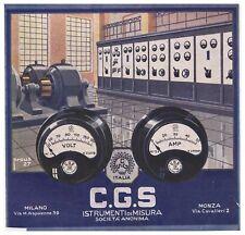 PUBBLICITA'1927 C.G.S. STRUMENTI MISURA VOLT AMPERE CONTATORE ELETTRICITA' PROUS