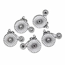 5PCS Bike Beads Charms Tibetan Silver Pendant DIY Necklace 25*29mm