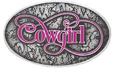 "Western Silver Pink Purple COWGIRL Barrel Racing Show Belt Buckle 2 1/2"" x 4"""