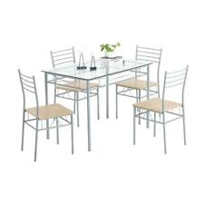 5 Piece Dining Table Set Silver Glass and 4 Chairs Kitchen Furniture Home Iron