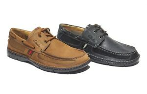 Men's Clarks Waterloo Leather Boat Shoes Black or Medium Brown Tan