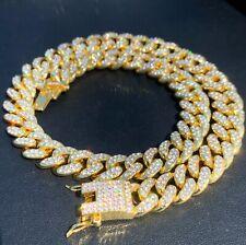GOLD CUBAN CHAIN ICED CHOKER NECKLACE BRACELET 13mm