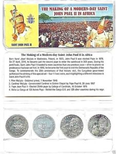 Pope John Paul II 4 Coin Set from the Congo,Uncirculated