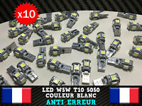 10 Veilleuses LED W5W T10 PUISSANT ANTI ERREUR ODB 5050 XENON 5 SMD