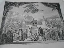 Gravure 1862 Nouveau rideau de manoeuvres du Théatre de la Gaité