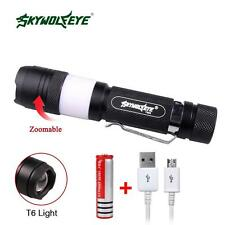 SKYWOLFEYE 3800 LM T6 Zoom 2 LED USB Torch Wihte +Red Light+18650 Battery ✿C
