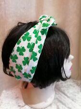 Green & White Shamrock Reversible Hair Wrap St Patricks Day Fancy Dress Irish