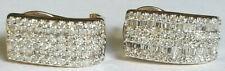 CRAZY 98 Round 100 Baguette 2 Carat Diamond 14k Yellow Gold Omega Earrings 4.4g