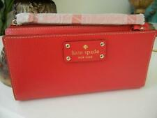NWT KATE SPADE WELLESLEY PILLBOX RED LAYTON LEATHER CLUTCH ORGANIZER WALLET NWT