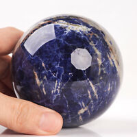 701g 80mm Large Natural Blue Sodalite Quartz Crystal Sphere Healing Ball Chakra