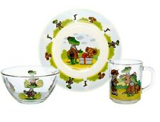 Children's Glass Dinner Service Set Plate, Bowl, Mug Cheburashka Gena Crocodile