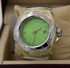 NEW GF Ferre 9069J Unisex Swiss Made Date Green Dial Shiny Silver Leather Watch
