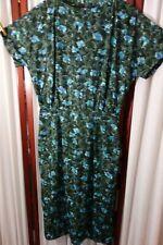 1950's Dress- S/M- Dark Green/Light Blue Floral-VG- THE GARDEN AT TWILIGHT-SALE