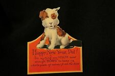 Vintage Art Deco Terrier New Year Card 1920S