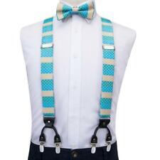 US Mens Blue Striped Suspenders 35mm Clip On Y-Back Braces Bowtie Hanky Set