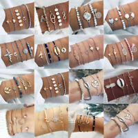 BOHO Fashion Women Jewelry Bead Stone Bangle Chain Cuff Open Charm Bracelet Set
