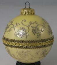 "W. Germany Glass Christmas Ornament Elegant Gold Trim & Glitter 3"" Holiday Tree"