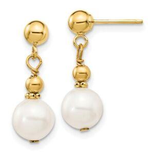 14K 7-8mm White Semi-round Freshwater Cultured Pearl Dangle Post Earrings