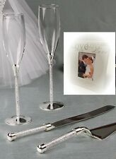 Wedding Toasting Glasses/Cake Server Set Champ. Flutes Crystal Beads Silver Base