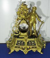 Support pendule régule doré et marbre noir pour mouvement de Paris Ø92