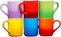 Bruntmor Ceramic Tea Coffee Cups Mugs Set of 6 Large sized Mugs 12 Ounce
