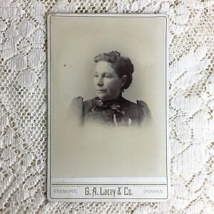 Antique Cabinet Card Photo Mature Woman Victorian Mourning Dress Fremont Indiana