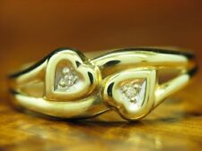 14kt 585 Gelbgold Ring mit Diamant Besatz  / Herz / 1,4g / RG 59