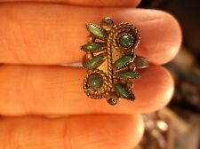 VERY OLD VTG ANTIQUE SOUTHWESTERN STERLING SILVER & 8x GREEN TURQUOISE RING, VGC