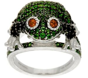 Judith Ripka Sterling Silver 2.60Ct Gemstone Frieda Frog Ring Size 5 Qvc $459