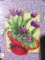 CANDAMAR DESIGNS - Red Hat Society Flowers Tulips Cross Stitch Kit, # 51500