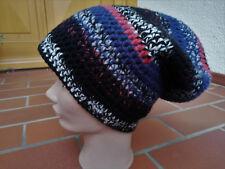 Mütze Häkelmütze Strickmütze Boshi Beanie - Schwarz/Blau/Hellgrau Gr. L 58 - 59