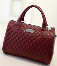 MANGO FAUX Leather Messenger Satchel Tote Purse Shoulder Women WINE RED Handbag