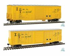 Lot of 2 - HO WALTHERS 910-2327/2328 ILLINOIS TERMINAL 50' Waffle-Side Boxcars