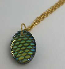 Mermaid Egg / Dragon Egg Scales Gold Plt  Necklace Pendant Yellow AB I030 Green
