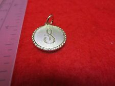 14KT GOLD EP LETTER S ROUND INITIAL DISC CHARM