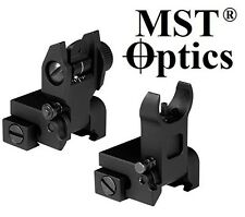 MST OPTICS Tactical Flip Up Mil Spec Iron Sights Front + Rear Sight Mounts Set