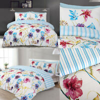 Multicolored Flower Printed Cream Duvet Cover With Pillowcases Bedding Set