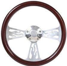 "NEW!! Hot Rod Street Rod Dark Wood Flamed 14"" Steering Wheel w/Chrome Spokes"