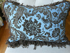 PAIR NEW Floral CUT CHENILLE Oblong Cushion covers & fringes Sky Blue & Brown