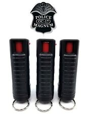 3 PACK Police Magnum pepper spray 1/2oz Black Molded Keychain Defense Security