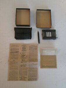Vintage 1941 Rippled Black The Gem Adding Machine Box Paperwork Stylus Case Math