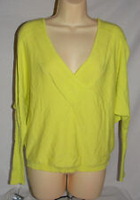 Women's Studio Y Bright Yellow / Green V Neck Top Size Small
