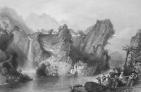 CHINA Limestone Cliffs in Che Keang Province - 1840 Antique Print T. Allom