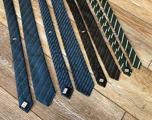 DIOR HOMME Lot Of 4 Skinny Silk Tie Satin Luxury Necktie Strip Italy Rare Auth